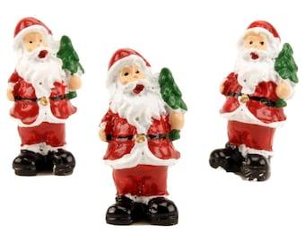 Santas - Traditional Holding Tree - Set of 3 miniature santas christmas decor santa diorama santa figurine set of santas - 204-2550