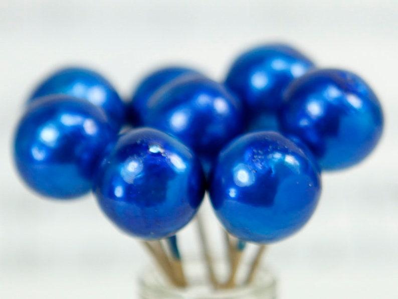 Floral Flourish  Blue Metallic Spheres  20 pc set  218-0153 image 0