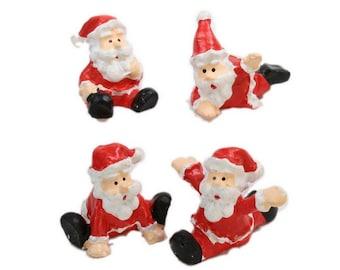 Santas - Dancing - Set of 4 miniature santas christmas decor santa diorama santa figurine set of santas - 204-8781