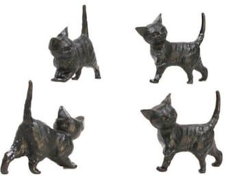 Miniature Cats - Running Kittens - Black - Set of 6 - 203-3-50B - Perfect for Model Making/Diorama/Fairy Garden Decor/Dollhouse Miniatures
