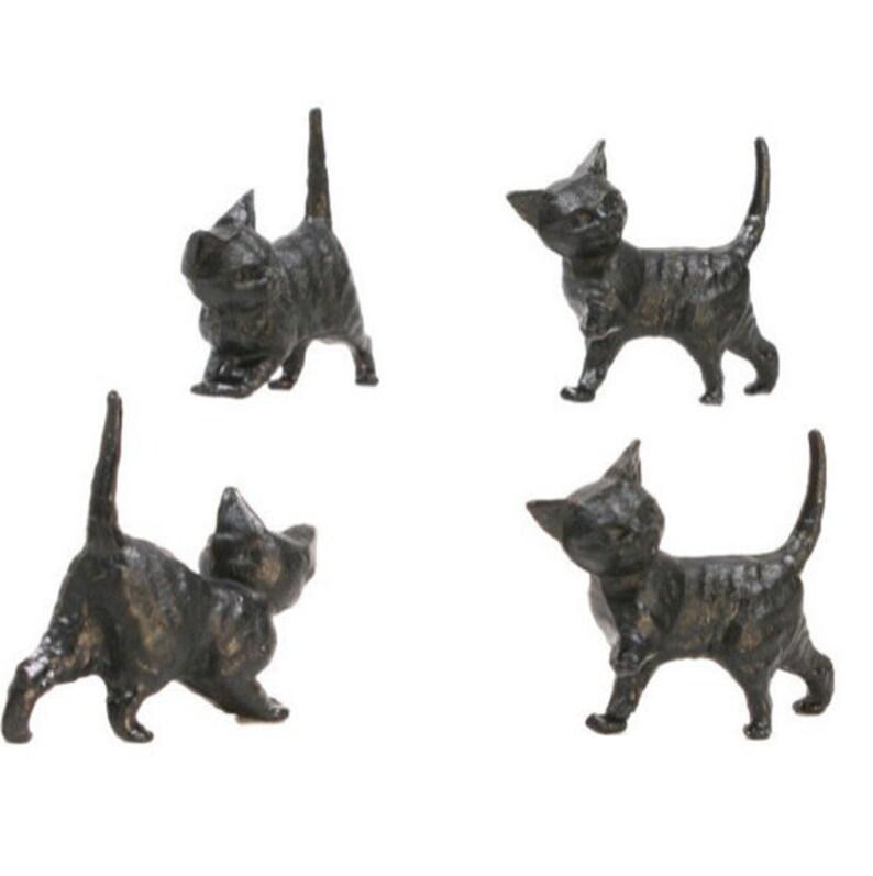 Miniature Cats  Running Kittens  Black  Set of 6  image 0