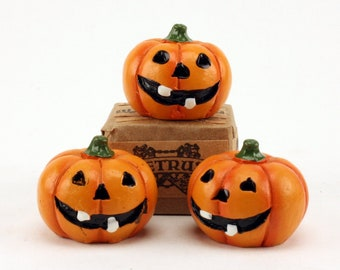 "Jack-O-Lantern Pumpkins- 1"" Dia. - Set of 3  -  Halloween - German Imports - dollhouse diorama project craft- XC-1208"