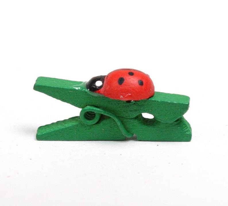 Ladybug Clothes Pins  Mini  1 Long  Set of 12  image 0