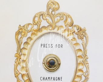Press For Champagne Watercolor Giclee Print of an Original Painting