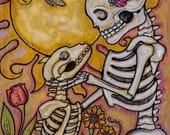 Sol Mates - Dog and Loving Owner - Pet Memorial metallic print by Bonediva Lisa Luree