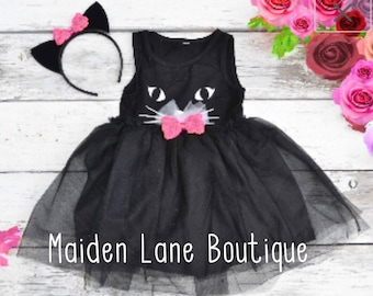 0d3ccfc0721 Black Cat Tutu Dress Halloween Costume Kitty Cat Ears Headband Tulle Girls  2t 3t 4t 5 6 Pink bows