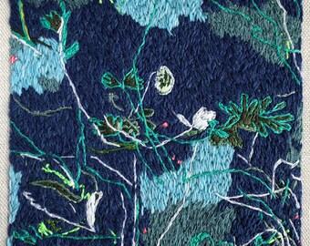 Embroidery work, original 'Night walk' FREE SHIPPING