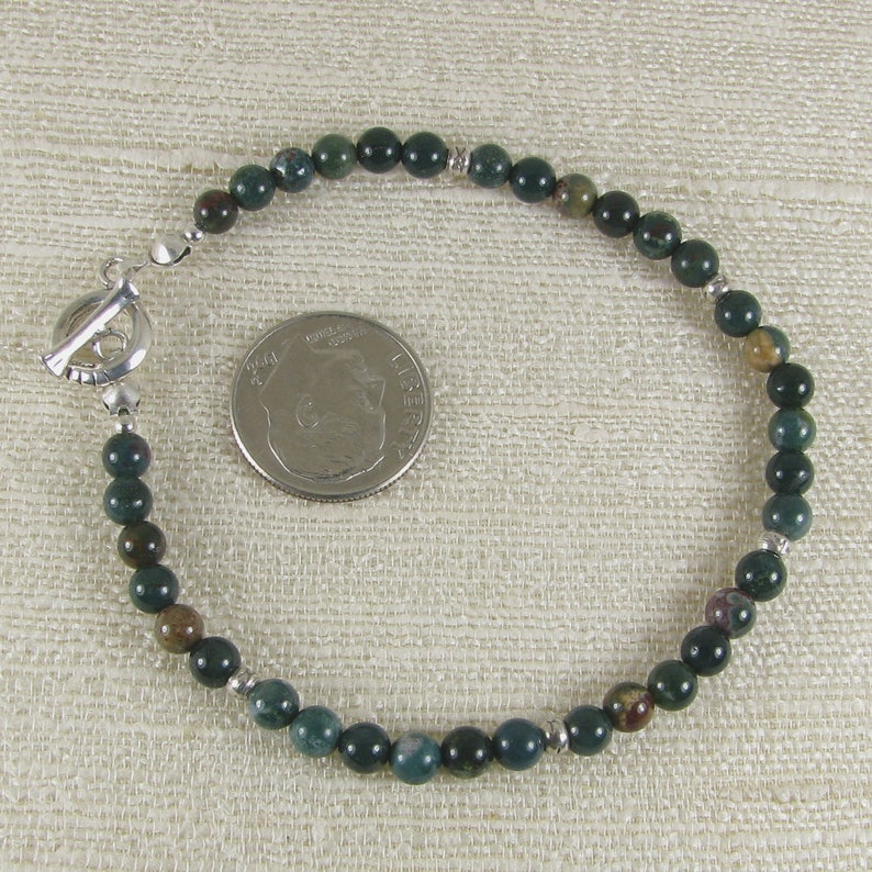 Bloodstone and Sterling Silver Bracelet