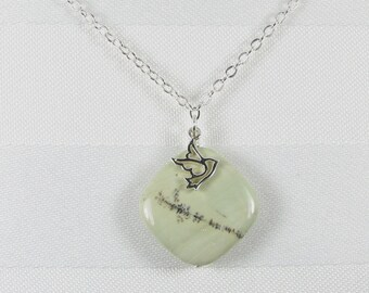 Pastel Green Imperial Jasper and Sterling Silver Dove Pendant Necklace