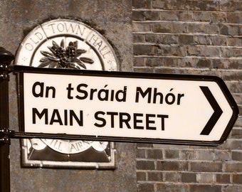 Fine Art Sepia Style Irish Road Sign Photography, Killarney Ireland, Street Sign, 12 x 18 Print, Old Town, Irish Decor