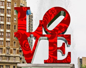 Love Sign Fine Art Photography, Kennedy Plaza Color Print, 8 x 10 Philadelphia Artwork, Street Photo