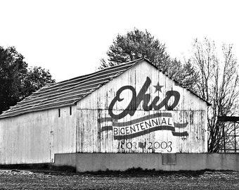 Fine Art Ohio Barn Photography, Bicentennial Sign, Rural America Print, 8 x 10 Photo, Home Decor, Wall Art