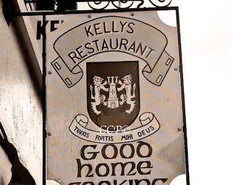 Kelly Restaurant Sign, Irish Decor, Fine Art Photography, 8 x 10 Sepia Style Photo, Coat of Arms, Wall Art