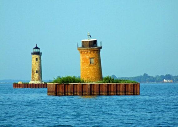 Photo Set, 2 Michigan Lighthouses, Nautical Photo, 5 x 7 Prints, St Clair  Flats Channel Lights, Fine Art Photo