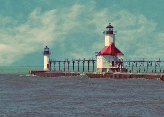 St Joe Lighthouse, Nautical Print, Saint Joseph, Michigan Landscape Photo,  Teal Vintage Style, Wall Decor