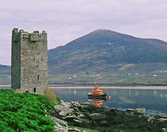 Grace O Malley Castle, Fine Art Color Photography, Achill Island Ireland, Nautical Print, Irish Decor, County Mayo