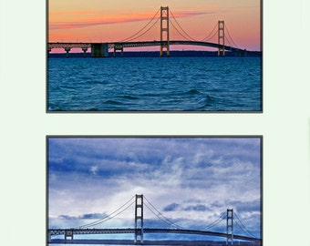 Mackinac Bridge, Two Photo Collage, Bridge Photography, Michigan Sunset, Blue And Silver, Orange And Pink, 8 x 10 Photo, Fine Art Wall Decor