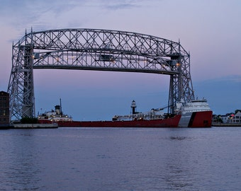 Duluth Freighter Fine Art Print, Nautical Photography, Lift Bridge Photo, 5 x 7 Landscape Artwork, 8 x 10 Wall Art