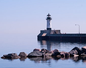 North Breakwater Light, Duluth Lighthouse, Lake Superior, Nautical Photography, Coastal Print, Fine Art, Wall Decor, Landscape Photo