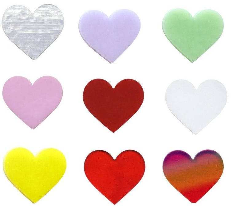 1 Precut 90 COE GLASS Heart Red Clear Lavender White Red Mint Yellow CHOICE