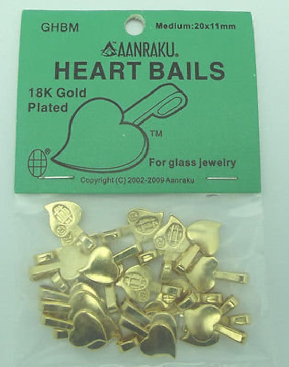 Silver Plated Glue On 25 Aanraku Large Heart Bails
