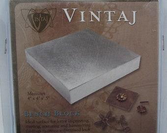 Vintaj V-BB44 Heavy Steel Bench Block 4 x 4 x .5 in For Metal Stamping Riveting