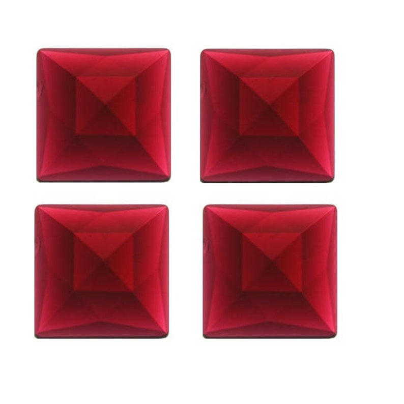 Set of FOUR SQUARE Glass Faceted Jewels All One Color 30mm 1.18 German Made Bevels Red Black Peach Amber Blue Green Opal