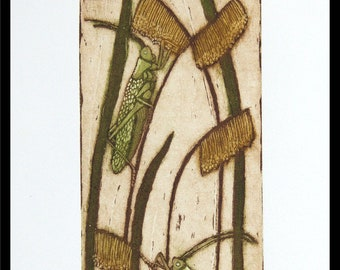 etching, Crickets, Singers of Summer Songs, nature, handprinted on paper, signed and numbered, Mariann Johansen-Ellis