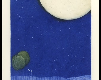 etching, Lovers Moon, handprinted on paper, signed and numbered edition, Mariann Johansen-Ellis, full moon, stars, lovers