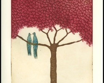 etching, Lovebirds handprinted on paper, signed and numbered edition, Mariann Johansen-Ellis, romance, hearts