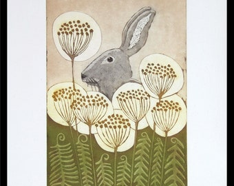etching, Hare and Ferns, hand printed on paper, limited edition, signed and numbered, original print, nature print, mariann johansen-ellis