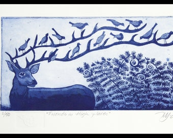 Friends in high places, etching on paper, handprinted and signed, deer and bird print