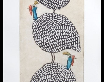 etching, handprinted on paper, a stack of Guinea Hens, limited signed and numbered edition, Mariann Johansen-Ellis