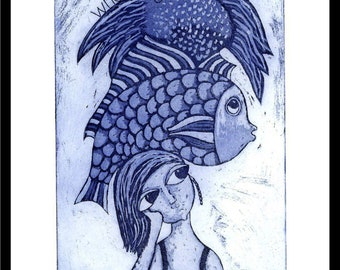 etching, What Logic, blue, fish, bird, handprinted on paper, signed and numbered, Mariann Johansen-Ellis