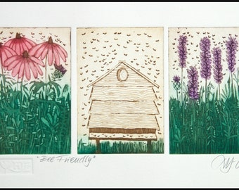 etching, Bee friendly, handprinted on paper, signed and numbered edition, Mariann Johansen-Ellis, flowers, bees, beehive