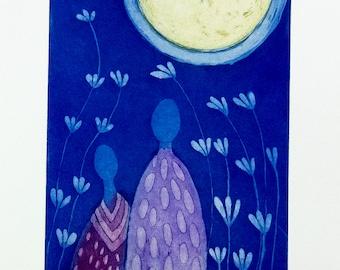 Moon art, moon and stars wall art, night sky print, moon print, blue print, lovers art, romantic art, purple, pink, etching, printmaking