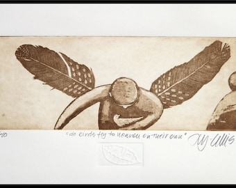 etching, Angel, handprinted on paper, signed and limited number edition, Mariann Johansen-Ellis,