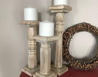 Wood Candle Pillars Etsy