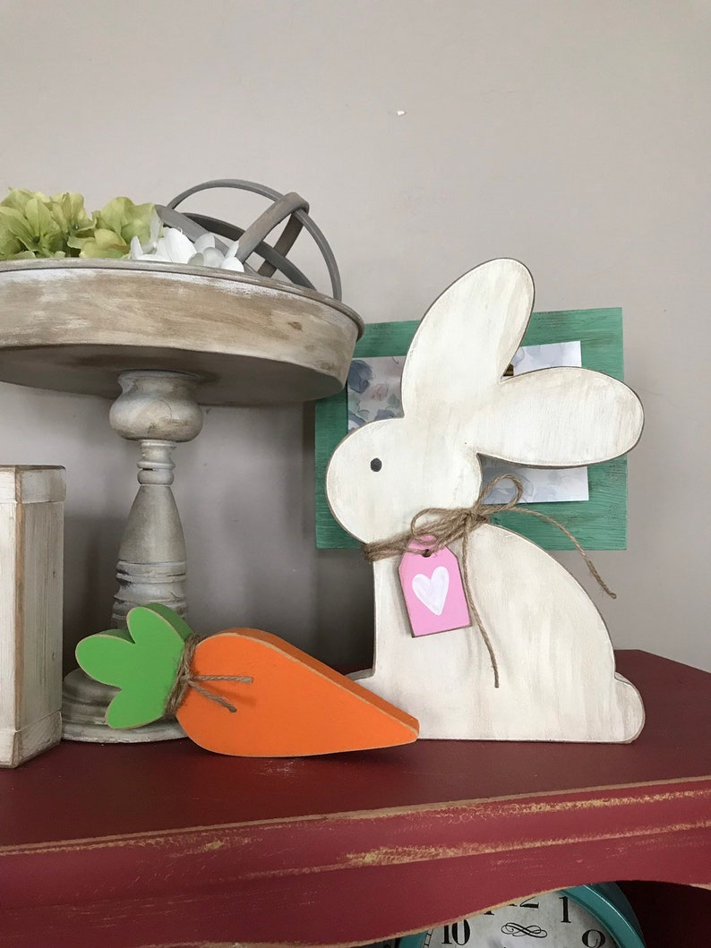 Diy Wood Crafts Grungy Farmhouse Bunny And Carrot Easter Home Decor Spring Bunnies Wood Bunny Rustic Home Decor