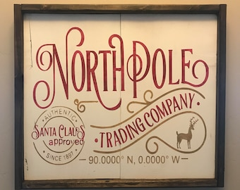 North Pole Trading Company Farmhouse Sign, Holiday Decor, Christmas Decor, Farmhouse Signs, Santa Sign, North Pole Sign