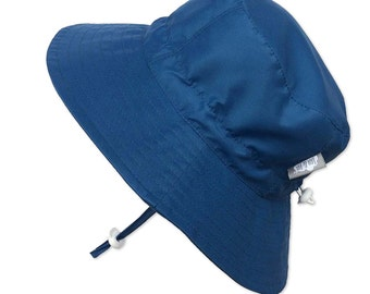 Baby Toddler Kids 50+ UPF Sun Protection Bucket Hat With Chin Strap, Size Adjustable Aqua Dry (Navy)