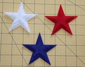 Patriotic Felt Stars, 4 th of July,July 4th,54 Felt Die Cut Shapes,DIY