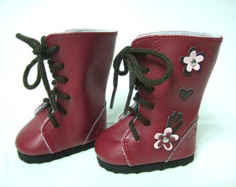 High Top Burgundy Boots to fit American Girl Dolls