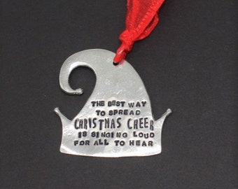 Christmas Cheer Ornament Elf Movie Quote Personalized Pewter Secret Santa On The Shelf Hostess Gift Stocking Stuffer