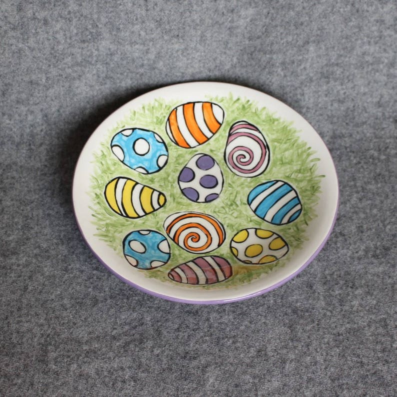 holiday decorations shower gift handpainted serving bowl spring decorations shallow bowl whimsical patterned eggs easter egg dish