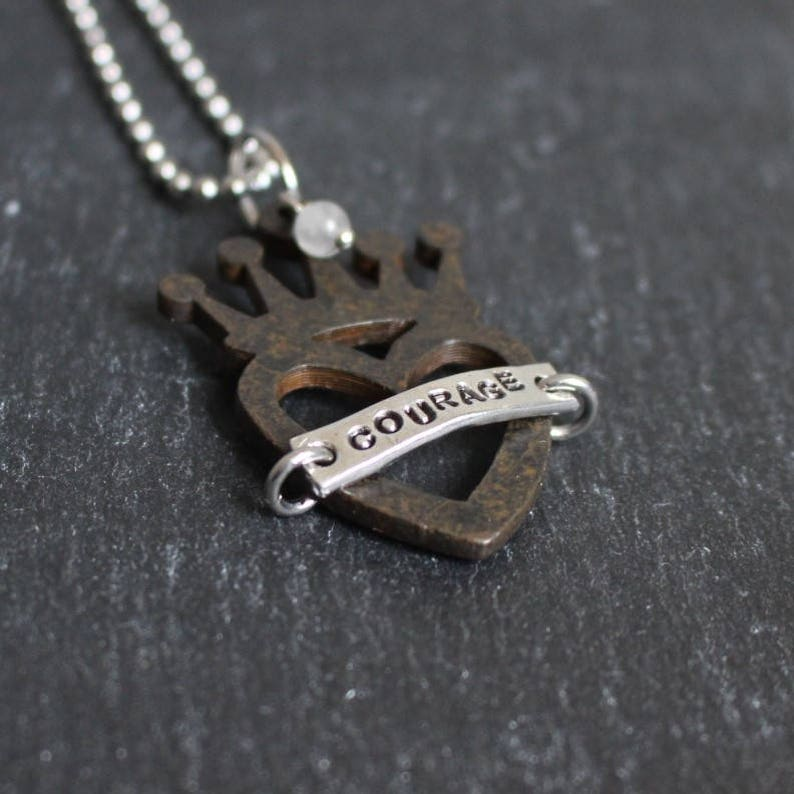 courage stainless steel chain option pewter tag girlfriend gift rustic heart crown pendant mixed metal mother/'s gift sweet 16