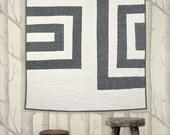 LINEN LOG CABIN - Modern minimal baby/ pet quilt and wall quilt