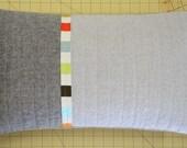 Modern Lumbar Pillow - Linen Triptych Multi