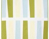 """Modern Quilt- Modern Stripes - Pickle + Aqua Linen """"Keyboard"""""""