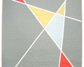 Modern Quilt - Mid Century Modern  Slate Stained Glass